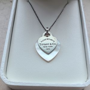 Return To Double Heart Tag Shell 925 Necklace
